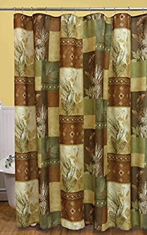 Pine Cone Diamond Shower Curtain - Black Diamond Cones