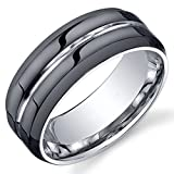 King Will Classic Mens 8mm Black Mens Tungsten Ring Wedding Band Grooved Center Polished Wedding Band(10)
