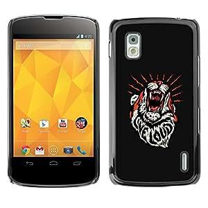GOODTHINGS Funda Imagen Diseño Carcasa Tapa Trasera Negro Cover Skin Case para LG Google Nexus 4 E960 - tigre rugir mensaje inspirador fuerte en directo