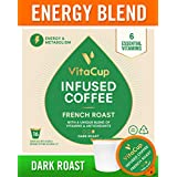 VitaCup French Roast Energy Blend Coffee Pods 16ct Keto|Paleo|Whole30 Friendly, B12, B9, B6, B5, B1, D3, Compatible with K-Cup Brewers Including Keurig 2.0, Dark Roast Cups