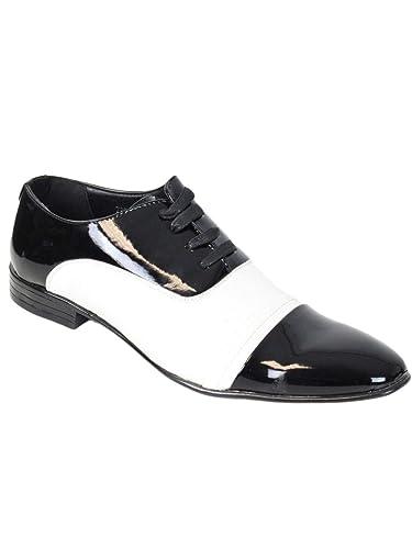 fd9abd1c7bff Kebello Chaussures Bi-Colore Vernis Homme Noir  Amazon.fr  Chaussures et  Sacs