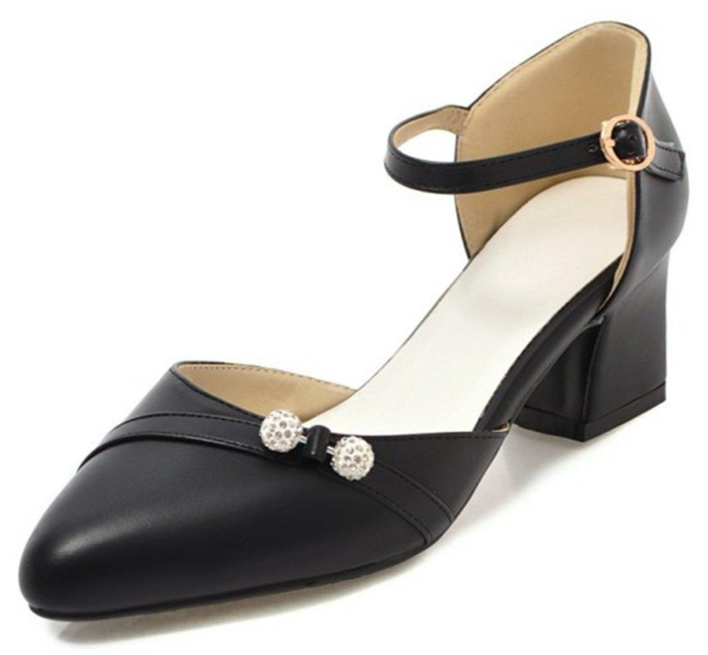 IDIFU Women's Fashion Diamond Ankle Strap Pointed Toe Mid Chunky Heel Pumps (Black, 4 B(M) US)