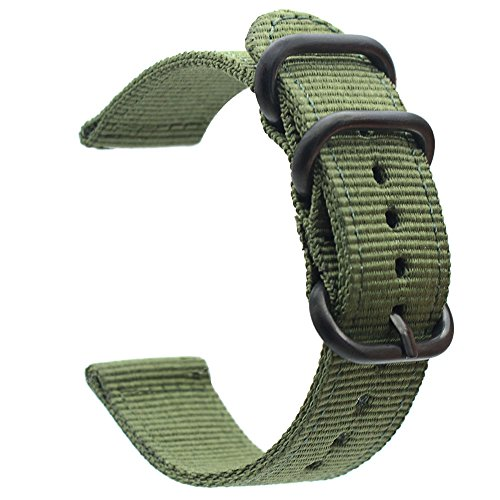 for Garmin Fenix 5 Watch Band, ViCRiOR 22mmPremium Woven Nylon Bands Adjustable Replacement Sport Strap with Metal Buckle for Garmin Fenix 5 / Forerunner 935 GPS/Approach S60 Smart Watch,Army ()
