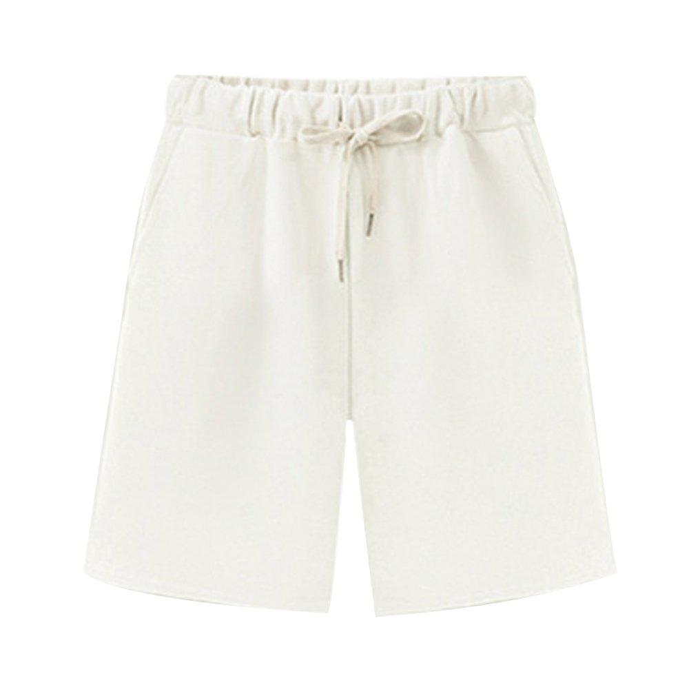 Women's Soft Knit Elastic Waist Jersey Bermuda Shorts with Drawstring White Tag XXL-US 8-10