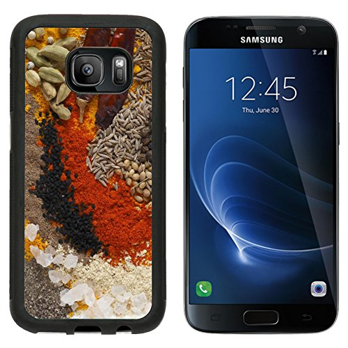 Luxlady Premium Samsung Galaxy S7 Aluminum Backplate Bumper Snap Case IMAGE ID: 24189918 Asian curry spices in the centre black pepper coriander seeds black mustard cumin seeds around that dr