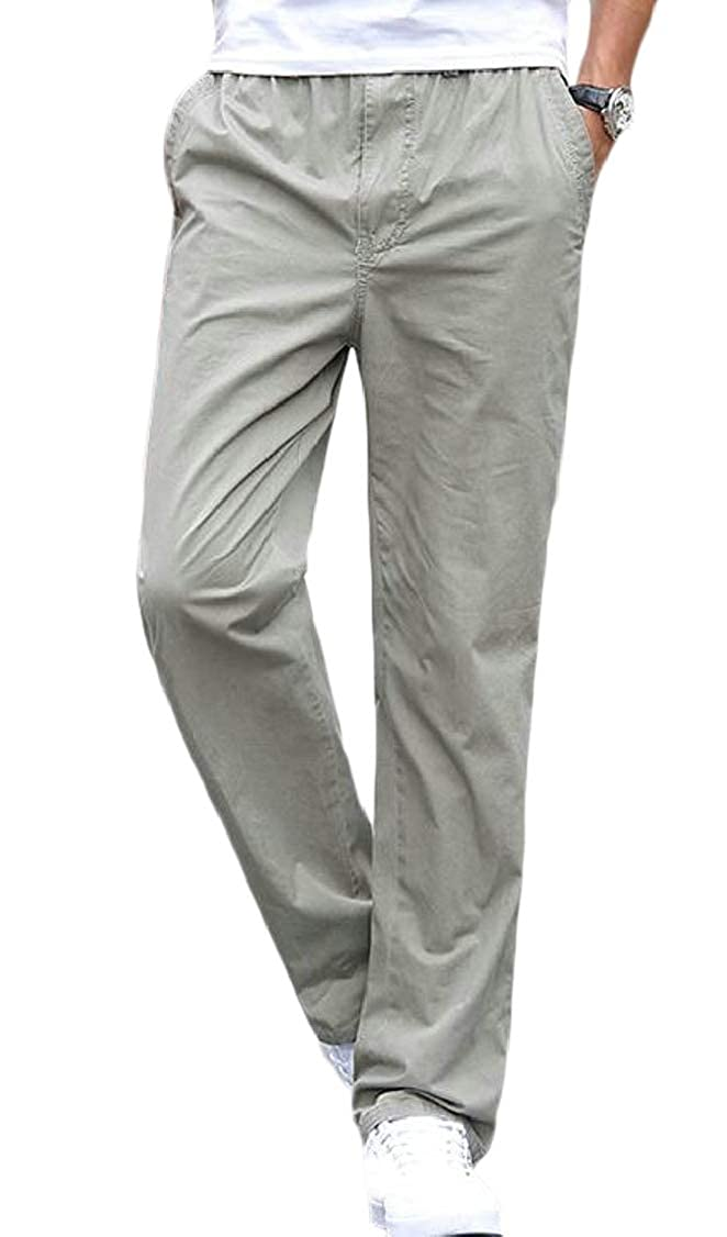 OTW Men Cotton Summer Straight Leg Pockets Elastic Waist Long Pants