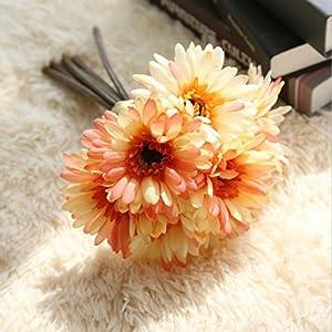 FYYDNZA Artificial Flowers Wedding Decoration 7Pcs/Lot Daisy Flowers Flowers Artificial Plants Fake Flowers Bouquet Home Decor,Orange 97