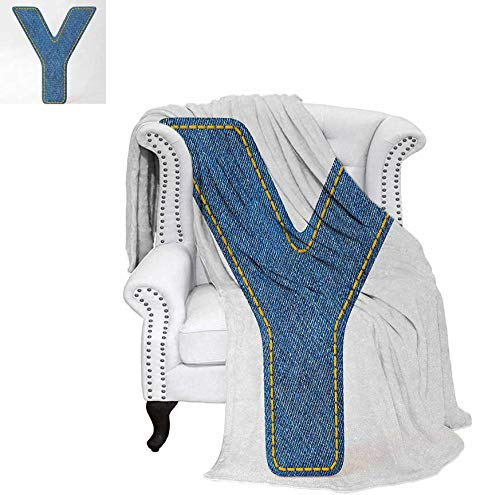 - Digital Printing Blanket ABC of Vintage Fashion Theme Jeans Fabric Denim Texture and Uppercase Y Image Lightweight Blanket 90