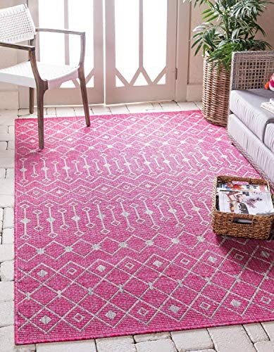 Unique Loom Outdoor Trellis Collection Tribal Geometric Transitional Indoor and Outdoor Flatweave Magenta Area Rug 9 0 x 12 0