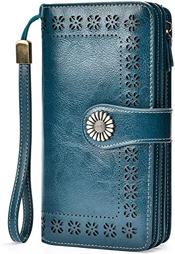 Charmore Womens Blocking Leather Wristlets