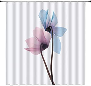 Floral Shower Curtain Modern Art Decorative Painting of Transparent Pink Blue Flowers under The X-Ray Nature Sence Bathroom Decor Machine Washable Polyester Fabric ,With Hooks 70 X 70 Inch