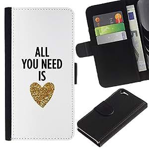 A-type Arte & diseño plástico duro Fundas Cover Cubre Hard Case Cover para Samsung Galaxy S4 (You Need Is Love Heart Gold Text White)