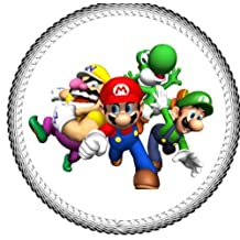 "Deco Twelve 2"" Mario, Luigi & Yoshi Mario Brothers Edible Cupcake Images Toppers Rations"