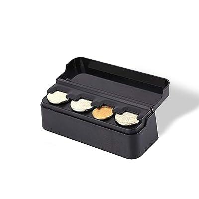 Vaygway Car Coin Change Holder- Black Mini Storage Coin Organizer-Universal Car Money Meter Dispenser: Automotive