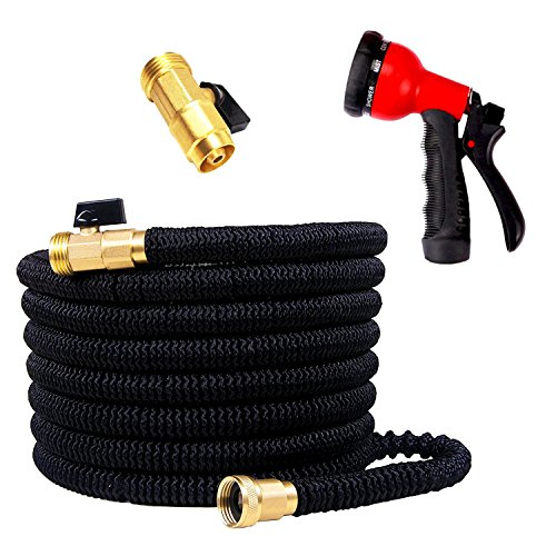50ft Expandable Garden Hose, Keepax Hose With IMPROVED Water Hose with Double Latex Core, Solid Brass Fittings, Extra Strength Fabric, Flexible Expanding Hose with 8 Function Spray Nozzle