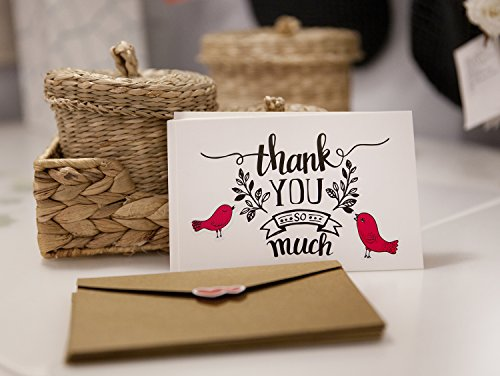 Thank You Note Cards Postcards with Funny Decor Stickers Set - 48 Assorted Bulk Pack Handwritten Greeting Cards - Blank Backside - For Wedding, Baby Shower -Brown Craft Paper Envelopes - 4 x 6 inches Photo #4
