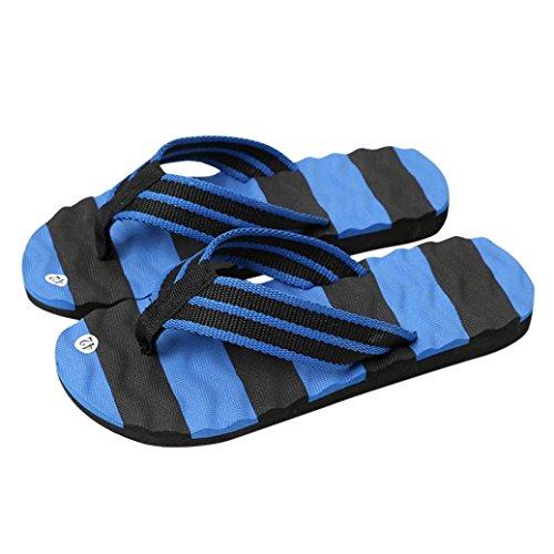 Hatop Menn Sommer Blokk Farge Sandaler Tøffel Innendørs Utendørs Flip-flops Strand Sko Blå