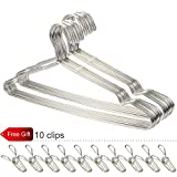 Gabbay Wire Hangers Stainless Steel Strong Metal Wire Clothes Hangers Heavy duty Non-slip 16.5 Inch 20 Pack (Present 10 Extra Wire Clips)