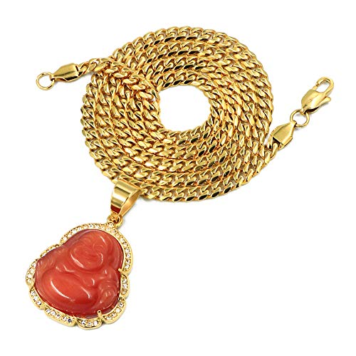 Red Jade Pendant - Stainless Steel Gold Iced Smiling Chubby Buddha (Red Jade) Pendant w/Cuban Chain (24)
