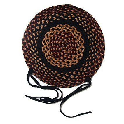 IHF Home Decor Braided Jute Rug 15'' Round Chair Cover Seat Pad Set of 4 New Blackberry Design Jute Fabric by IHF Home Decor (Image #3)