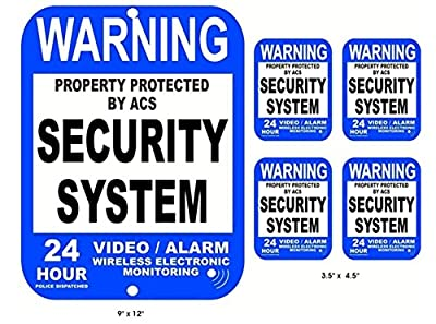 5-Pc Grand Unique Warning Property Protected Security System 24 Hour Police Dispatched Video Alarm Wireless Electronic Monitoring Sign CCTV Under Cameras Surveillance 1-Large Aluminum 4-Small Sticker