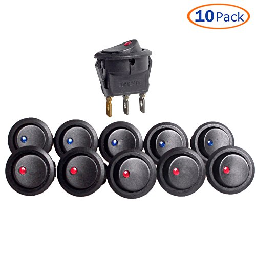 Conwork 10-Pack 20A 12V Round Rocker Toggle Switch Blue and Red LED (Triple Fan Panel)