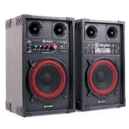 Skytec Serie SPB-8 400 Watt Lautsprecher-Boxen-System Set mit je ein 20cm Subwoofer + Kabel (USB/SD, 2x Mikro, Equalizer) schwarz-rot