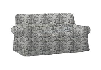 Herzers Stoffbezug Für Ikea Vingaker Sofa Blumenornament Grau