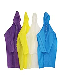 4 Pieces Reusable Raincoat Ponchos with Hoods and Sleeves for Adults