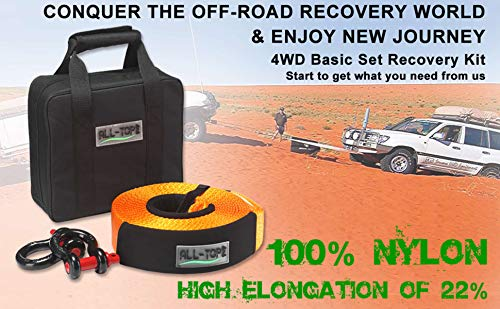 ALL-TOP Tow Strap Recovery Kit-3'' x 30' (32.000 lbs.Capacity) Nylon Snatch Strap + 3/4 D Ring Bow Shackles(2pcs)+Storage Bag-Off Road Winch Heavy Duty Equipment for Recovery&Towing by ALL-TOP (Image #1)