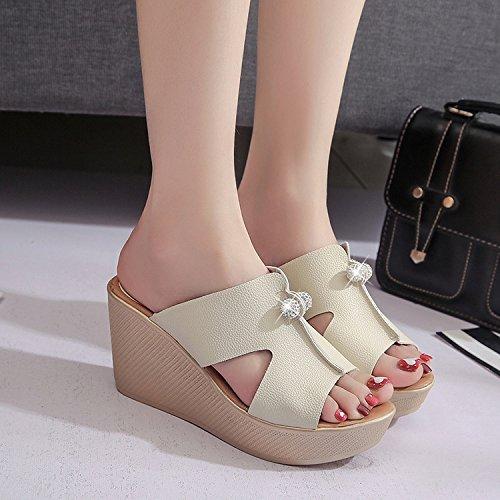 ZPPZZP Mme sandales chaussons Korean style haute-talon épais blanc avec pente 38EU