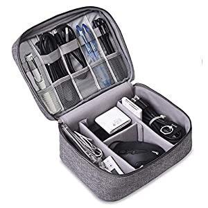 TOPSEFU Extra Large Double Layer Cable Organiser Bag,Travel Electronics Accessories Bag Organiser for Cables, Flash disk, USB drive, Charger, Power Bank, Memory Card, Headphone and iPad Mini (gray)