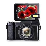 Digital Camera Vlogging Camera Full HD1080p 24.0MP Camera 3.0 Inch Flip Screen Camera with Retractable Flashlight Vlogging Camera for YouTube