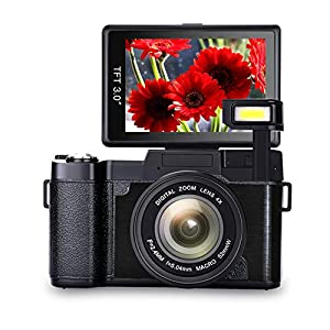 Digital Camera Vlogging Camera Full HD1080p 24.0MP Camera 3.0 Inch Flip Screen Camera with Retractable Flashlight Vlogging Camera for YouTube … (GA2)