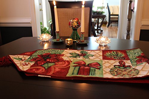 - Tache Home Fashion DB12900-1354 Christmas Green Red Decorative Tapestry Holiday Tidings Poinsettia Table Runners with Tassels, 13 x 54,