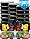 [20 Pack]Meal Prep Containers,2 Compartment Bento Lunch Box,Food Prep,Portion Control,Microwave Safe,20 Sporks