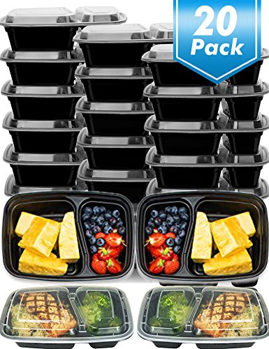 Meal Prep Containers 20 Pack Food Prep Storage Containers with Lids,Rectangular Plastic Bento Lunch Box,Microwave,Dishwasher,Freezer Safe