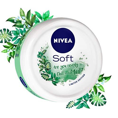 NIVEA Soft Light Moisturizer Chilled Mint With Vitamin E & Jojoba Oil, 100 ml
