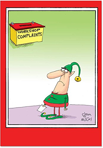12 'Workshop Complaints' Boxed Christmas Cards with Envelopes 4.63 x 6.75 inch, Silly Santa's Helpers Christmas Notes, Funny Elf Holiday Notes, Hilarious Santa's Workshop Holiday Cards B5719 -