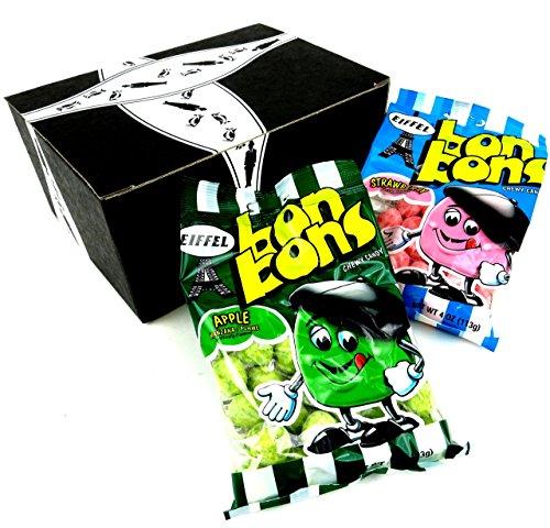 Eiffel Bon Bons 2-Flavor Variety: One 4 oz Bag Each of Strawberry and Apple Flavor in a Gift Box - Bon Bons Apple
