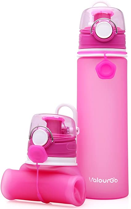 ValourGo Collapsible Water Bottle with Leak Proof Valve BPA Free Silicone for