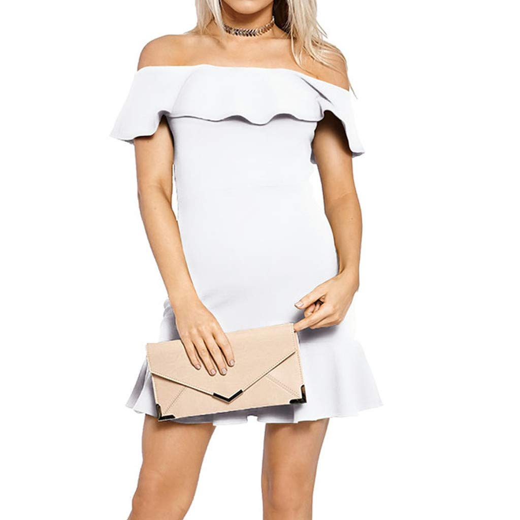 Forthery-Women Off Shoulder Ruffle High Low Cocktail Skater Swing Mini Dress(White,US Size XS = Tag S)