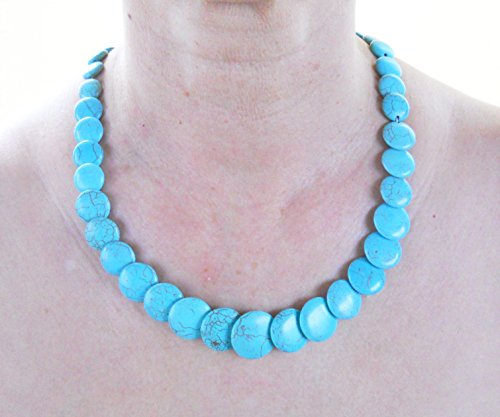 Turquoise necklace with round graduated beads