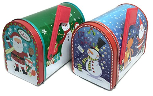 Snowman Cookie Tin (Christmas Prints Mailbox-Shaped Tins with Lids, 2 Count (Santa, Snowman))
