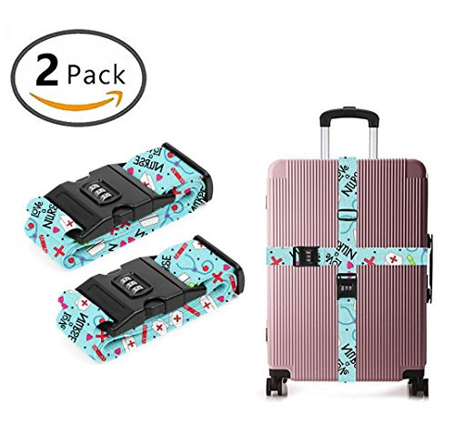 YEAHSPACE Travel Luggage Strap Love A Nurse 2-Pack Adjustable Suitcase Packing Belt with TSA Combination Lock by YEAHSPACE