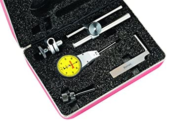 Starrett 811-MCZ Dial Test Indicator with Attachments, Swivel Head, Yellow Dial, 0-40-0 Reading, 0-0.8mm Range, 0.01mm Graduation, +/-0.01mm Accuracy