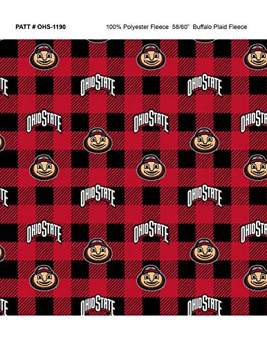 (Ohio State University Fleece Blanket Fabric-Ohio State Buckeyes Fleece Fabric with Buffalo Plaid Design)