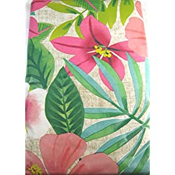 Tropical Flowers Vinyl Umbrella Tablecloth with Hole and Zipper Assorted Sizes (60 x 84 Oblong)