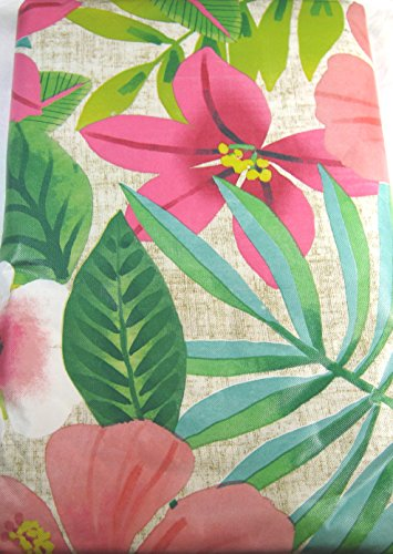 Tropical Flowers Vinyl Umbrella Tablecloth with Hole and ...