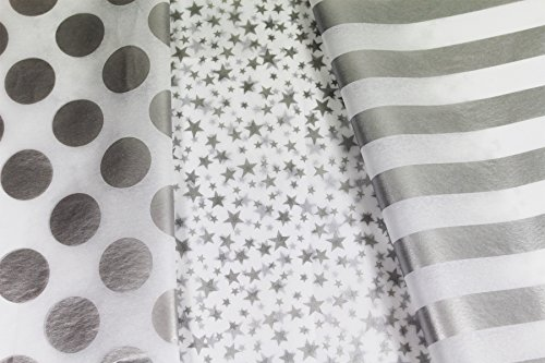 Metallic Silver and White Tissue Paper for Gifts. 36-Pack includes 12 each of Polka Dot, Striped and Stars Patterned Sheets. Premium Quality Large 20 x 30 Squares, Silver Metallic and White - Patterned Tissue